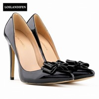 New Arrivai Woman Shoes Bowknot Pointed Toe Patent Leather For Woman Highe Heel Shoes Wedding Shoes