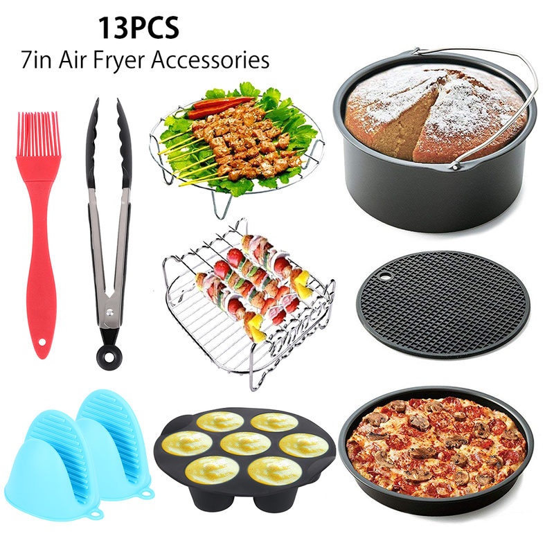 US $34.66 42% OFF|13pcs 7 Inch Air Fryer Accessories Cake Pan Set Bakeware  Kitchen Gadget Silicone Pizza Grill Egg Mold Baking Gloves Clip Brush-in ...