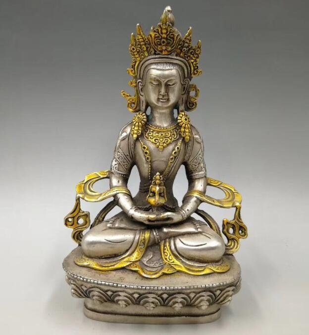 Raccogliere archaize rame bianco artigianato king kong statua di BuddhaRaccogliere archaize rame bianco artigianato king kong statua di Buddha