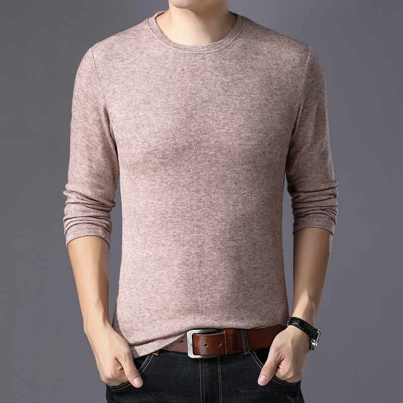 The Leisure Cultivate One's Morality New Winter Long Sleeve Knit The Men First Round Collar Youth Pure Color Sweater