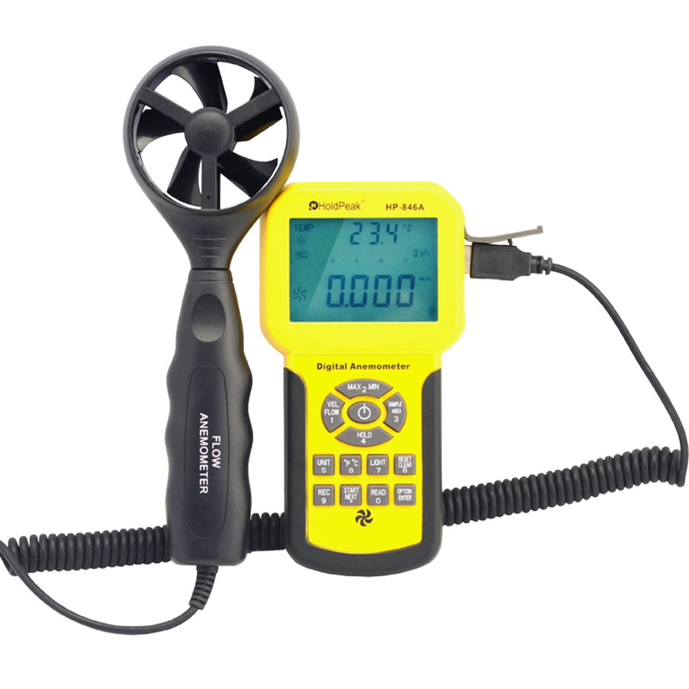 HoldPeak HP-846A Digital Wind Speed Air Volume Meter Anemometer Handheld with Data Logger and Carry Case holdpeak hp 760g 1000volt