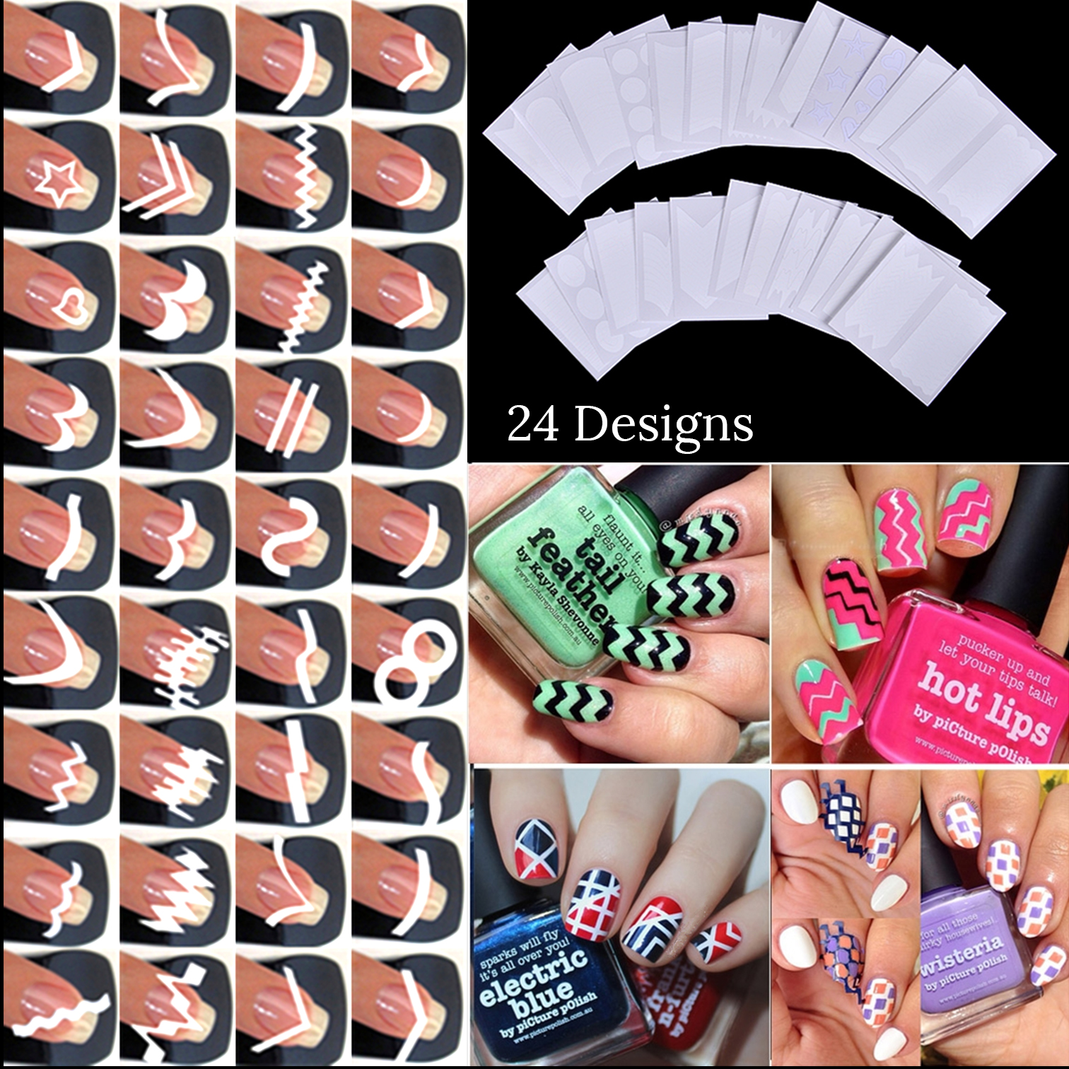 24pcs/set Nail Art Guide Tips Hollow Stencils Sticker French Manicure Template 3D Vinyls Decals Form Styling Tool 12pcs set nail art guide tips hollow stencils sticker french manicure template 3d vinyls decals form styling tool