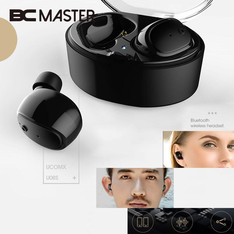 BCMaster Portable Mini Bluetooth Earphones Wireless Headset In-Ear Earphones Headphones Earbuds for Smart Mobile Phone Black carkit mini wireless bluetooth 2 in 1 in ear earphones car phone charger usb dock stereo headphones for dacom iphone 7 airpods