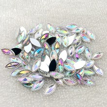 50pcs/lot 6*12mm white AB color horse eye shape flat back rhinestone wedding decoration button clip book(China)