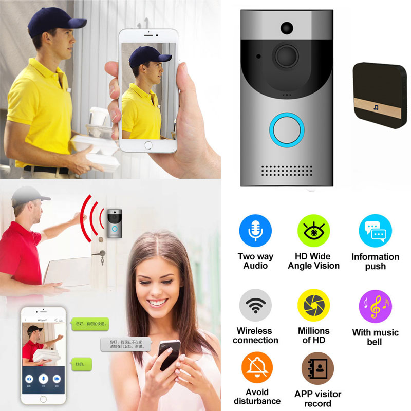 Smart Wireless WiFi Doorbell HD Video Audio Camera Home Security Waterproof Ring App Visitor Record image