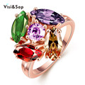 Fashion Colorful shining CZ diamond Rings For Women Rose Gold plated Wedding gifts trendy ring high quality VAKR048
