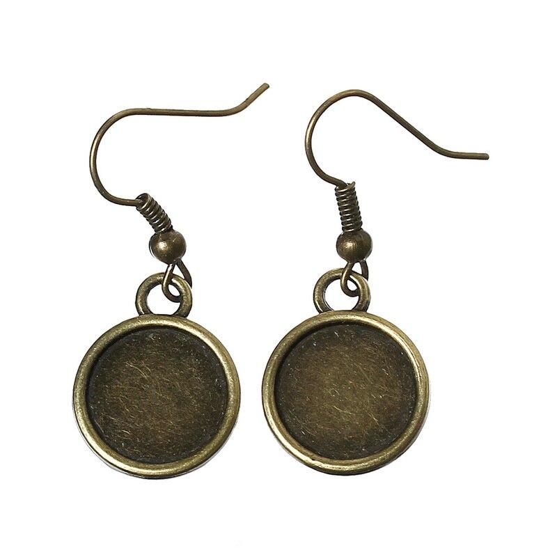 DoreenBeads Zinc metal alloy Earring Components Earring Findings Round Antique Bronze 3.4cm(1 3/8) x 14.0mm( 4/8), 4 PCs