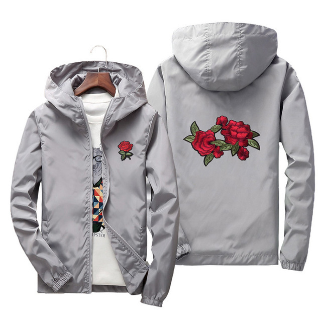Men's Hooded Jackets 2019 Spring Embroidery Rose windbreaker Men Women Basic Jackets Lightweight Coats Male Famale Dropshipping