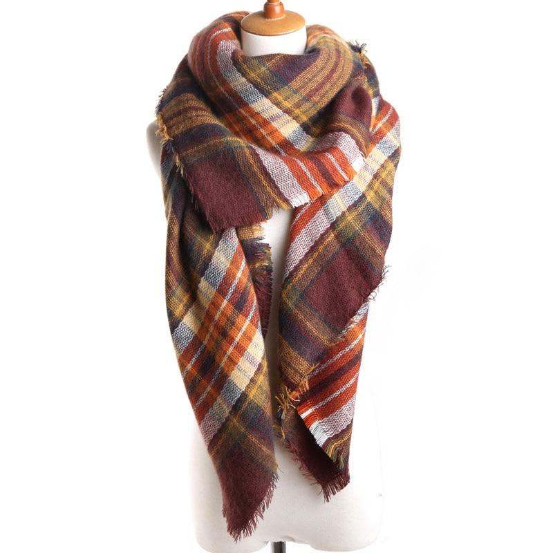 2018 Módní značka Ženy Šála náměstí Brown Plaid Cashmere Teplá v zimě Šátky a zábaly dámské šály módní 140cmx140