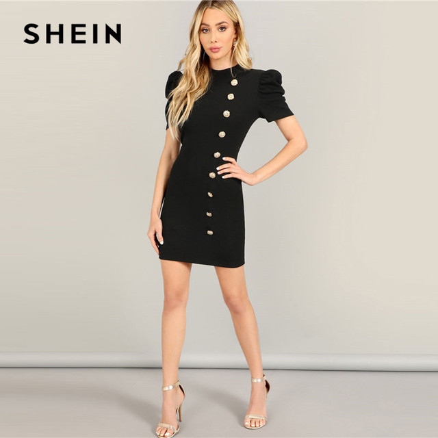 723c10d187 SHEIN Black Elegant Solid Stand Collar Gold Button Front Puff Sleeve ...