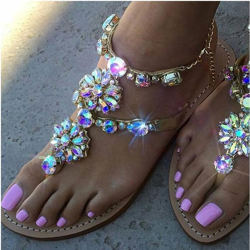 New Summer Style Roman Sandals Women Classic Rhinestones Chains Thong Gladiator Flat Sandals Plus Size Casual Shoes Woman malìparmi юбка длиной 3 4