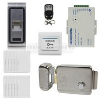 DIYSECUR Controle Remoto Fingerprint 125 KHz RFID ID Card Reader Porta Sistema de Controle de Acesso Kit + Elétrica Trava