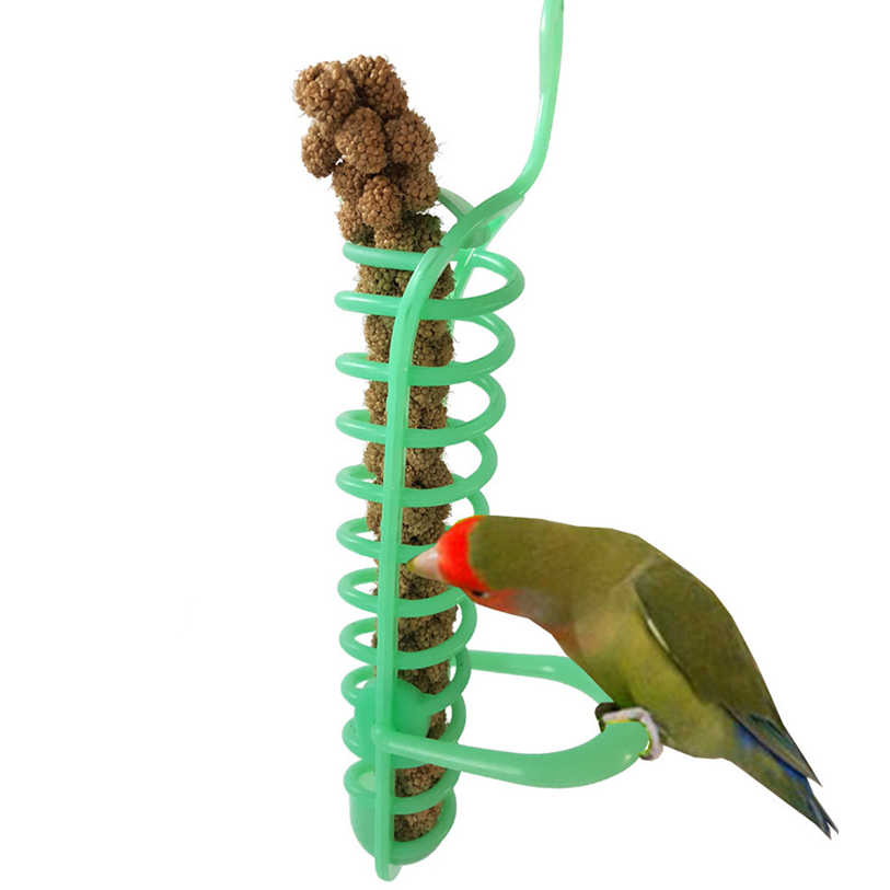 Pet Bird Toys Plastic Parrot Chew Toys Bird Parrot Cage Hanging Toy Foraging Device Fruit Fork With Stand 40DC27