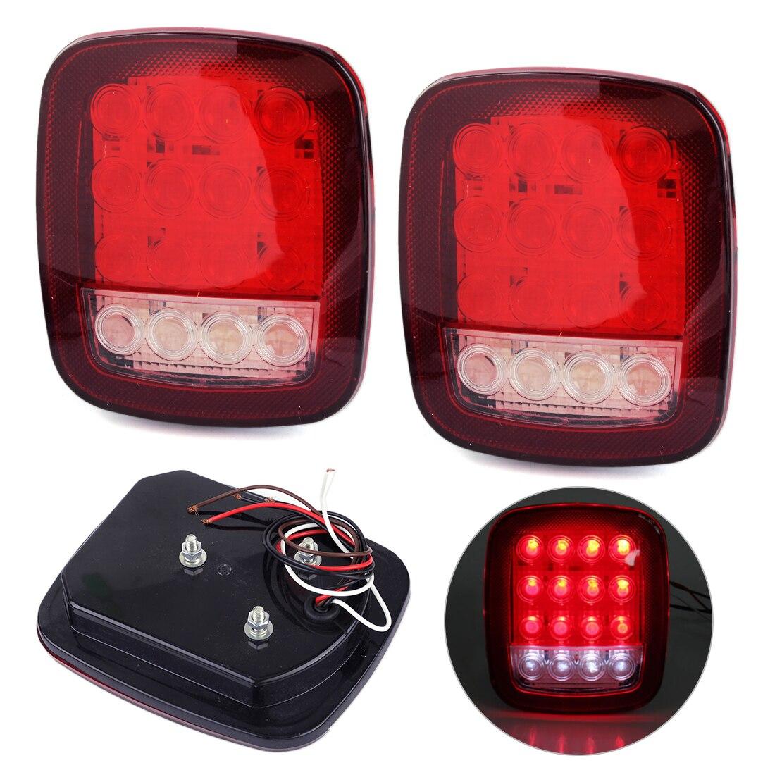 белер 2шт/комплект 16 LED Универсальный красный и белый 12V грузовик прицеп остановить лодку, поджав хвост Резервное копирование Обратный свет лампы Водонепроницаемый Пылезащитный