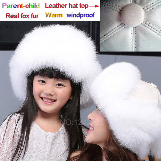 New Russia fur hat Winter women Boy Girl Real Fox Fur Hat Parent-child  Children Earmuff Warm pompom leather Bomber fur Hats caps 47adfc7d2757