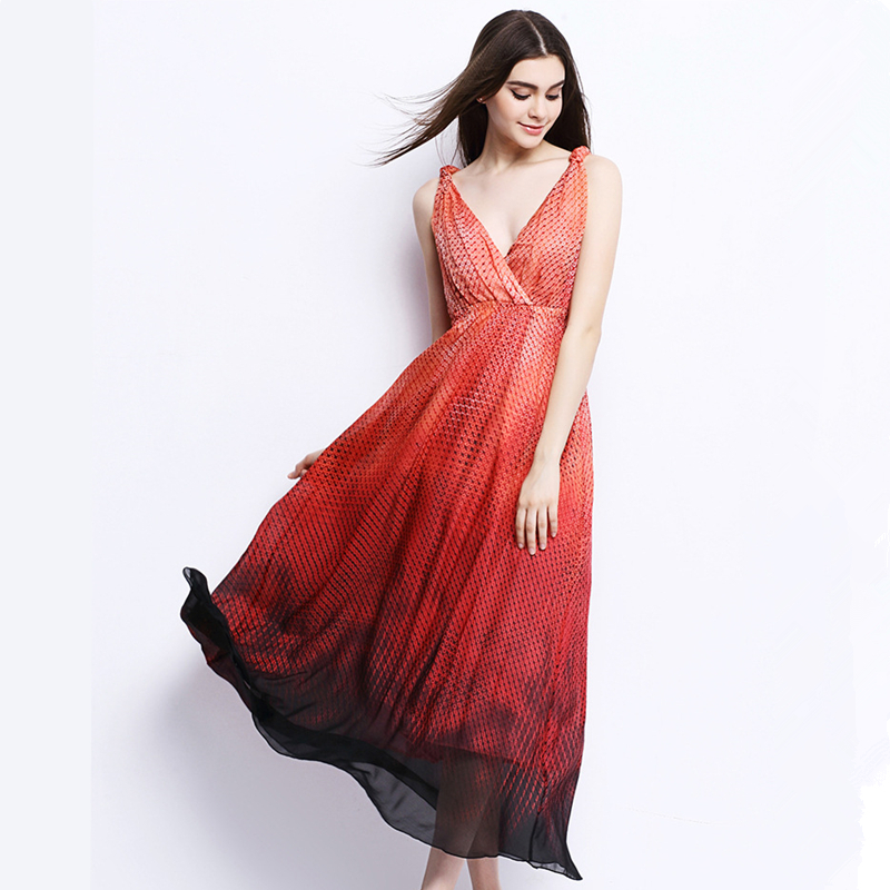 UNIQUEWHO Ladies Women Sexy Sleeveless Dress 100% Pure Silk Maxi Dress V Neck Gradient Color Dresses Summer Holiday Beach Dress 2018 ladies women casual knitted dress sexy strap slip sleeveless v neck solid home bottoming straight sweater dress