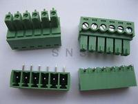 250 Pcs Screw Terminal Block Connector 3 5mm Angle 6 Pin Green Pluggable Type