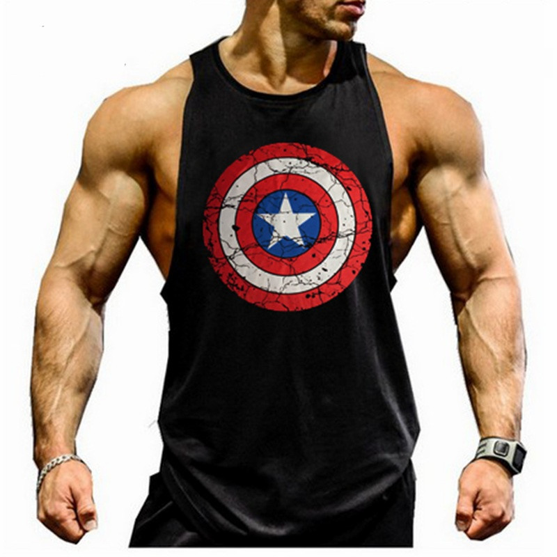 Musculation Vest Bodybuilding Clothing and Fitness Men Undershirt Skull   Tank     Tops   Captain America Golds Gyms Men Cotton   Tank     top