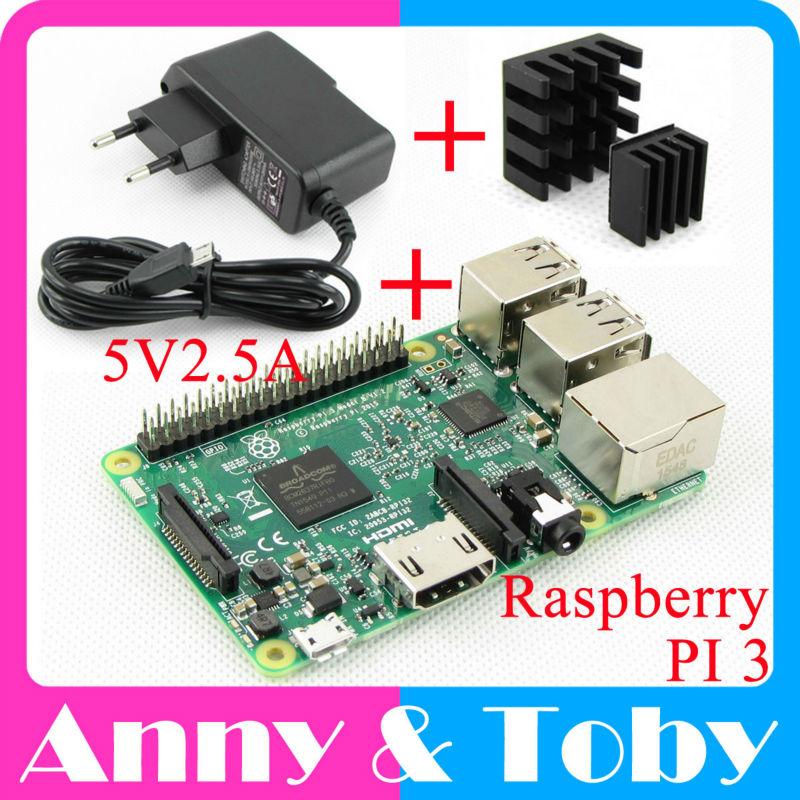 Prix pour Raspberry Pi 3 Modèle B Conseil + Dissipateur de Chaleur + Puissance Adaptateur AC Alimentation. Râpe IP3 B, PI 3 B, PI 3B. 1 GB LPDDR2 Quad-Core WiFi & Bluetooth
