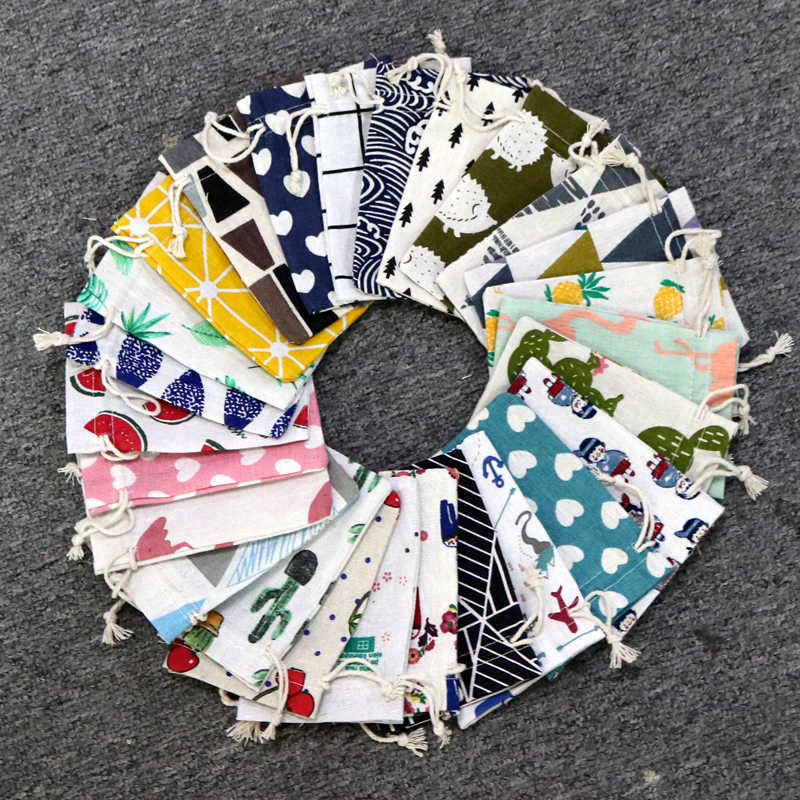 10pcs/lot Cute Linen Drawable Cotton Bags 9x12cm Handmade Travel Packaging Pouches Dry Small Cloth Jewelry Cotton Bags for Party