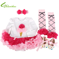 Baby Girls Clothing Sets Romper Dress + Headband + Shoes + Leg Warmer Clothing Set Birthday Party Clothes Bebe Princess Dresses
