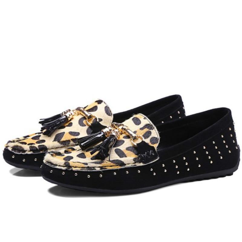 ФОТО brand design sheepskin leather horse fur rivets fringe casual flat loafers shoes 2017 black leopard spring summer driving flats