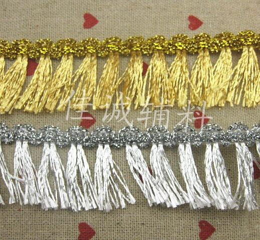 Hot Sale New 2 Meter/lot 3CM Fringe Gold Silver Lace Trim Tassel Lace Trimmings High Quality