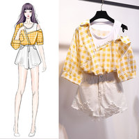 ICHOIX Plaid shirt 2 piece shorts sets women Korean tops and shorts sets casual girl student two piece sets summer clothing 2019
