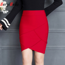 2019 Spring Summer Elegant Ruffle Hem Women Red & Black Skirts Office Business High Waist Sexy Short Skirt Layered Ruffle Skirt недорого