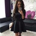 Женщины осень зима платье сладкий три четверти черный серый красный платья О-Образным Вырезом женский мини-платье темперамент ropa mujer CD1865