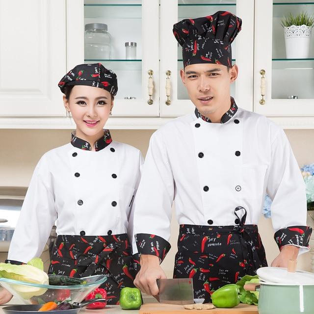 New Food Service Design White Chef Uniform Restaurant Apron Set Hotel Kitchen