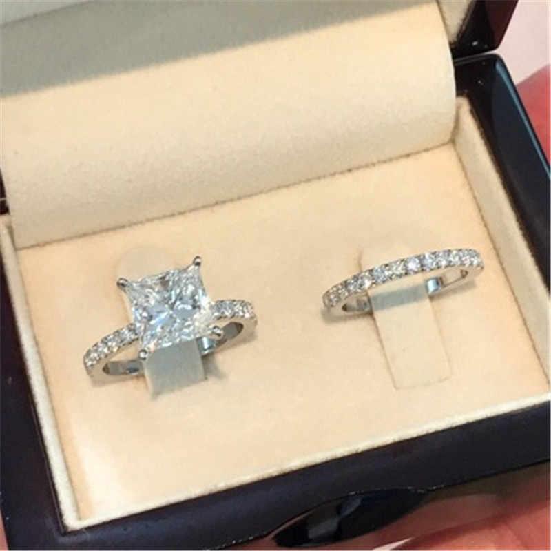 ZORCVENS Cor Prata Moda Anéis Set Para As Mulheres de Jóias de Design Simples Praça Zircon Nupcial Do Casamento Engagement Ring Bijoux