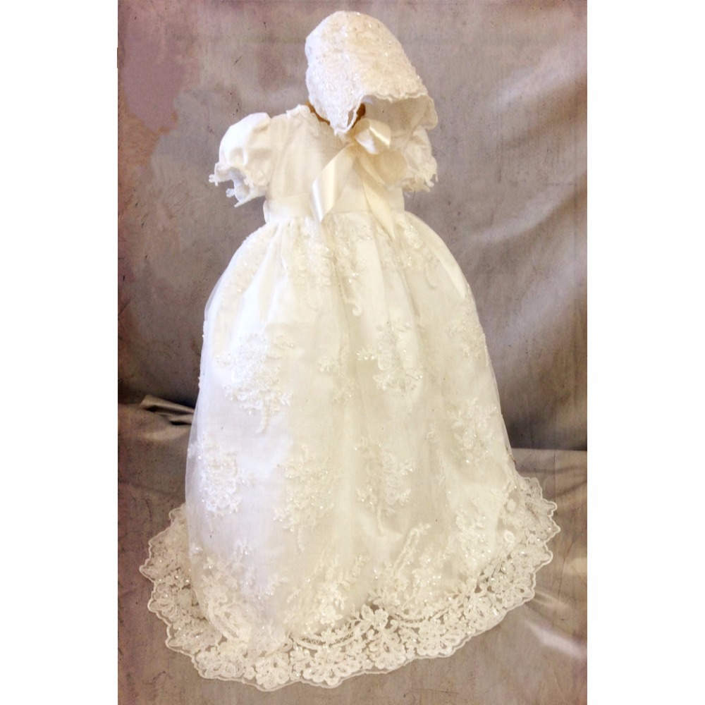 Enchanting Baby Girl Baby Boy Baptism Gown 0-24month Christening Dress Robe Flower Lace Applique WITH BONNET 2016 baby infant baptism gown baby girl christening dress white ivory lace applique robe 0 24month