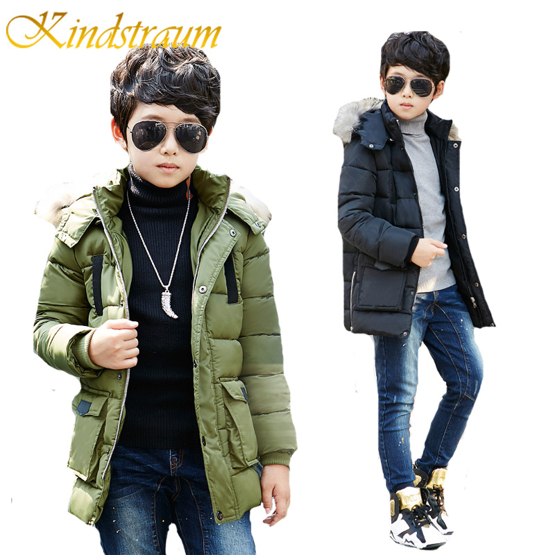 Kindstraum 2017 New Boys Winter Thick Jacket Kids 100% Cotton Warm Hooded Outwear Parkas Children Fur Collar Casual Coat, MC768 2016 winter thick down jacket fashion girls boys cotton hooded coat children s jacket warm outwear kids casual outwear 16a12