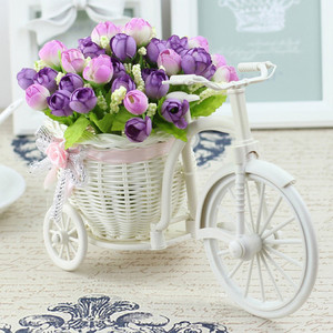 Image 5 - Rattan Bike Vase with Silk flowers Colorful Mini Rose flower Bouquet Daisy Artificial Flores For Home Wedding Decoration