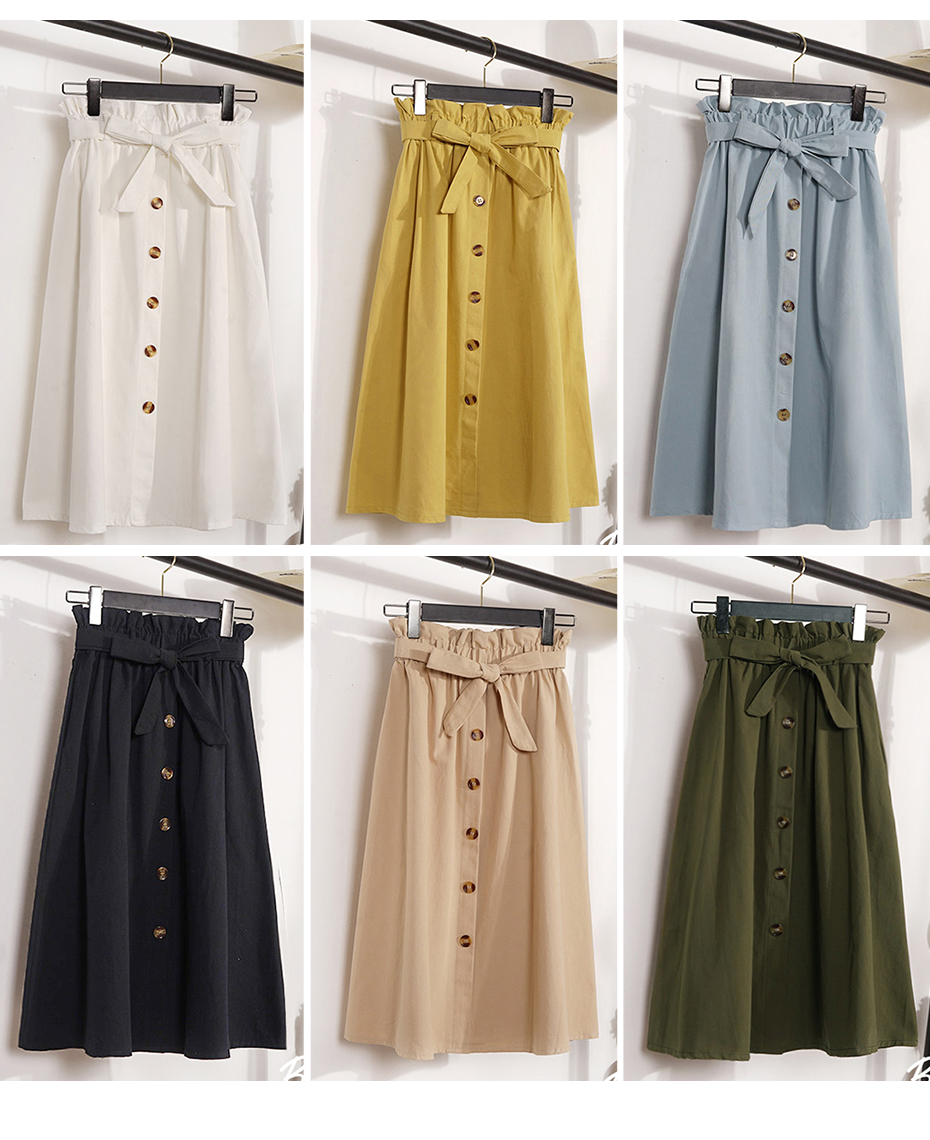 Gogoyouth Summer Skirts Womens 2018 New Midi Knee Length Korean Elegant Button High Waist Skirt Female Pleated Sun School Skirt 6