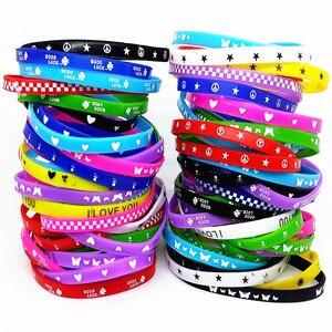 Image 4 - 100Pcs Kids Siliconen Armband Polsbandje Kinderen Jongen Meisje Diverse Kleuren Liefde Bangle Familie Party Gift Mix Stijlen Groothandel