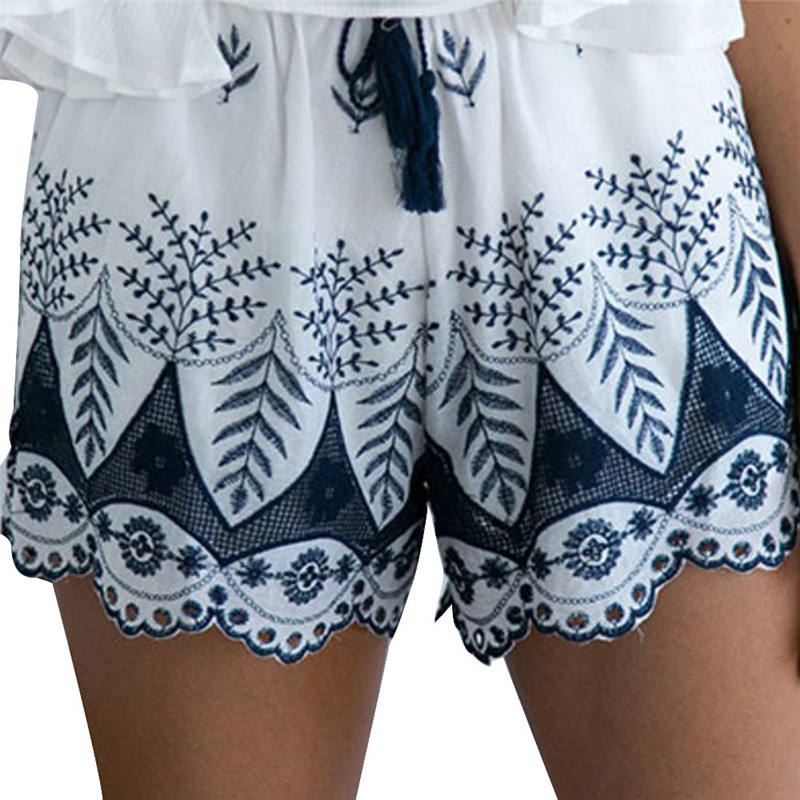 Women Summer Lace Embroidery Bohemian Casual   Shorts   Cotton Mid Waist harajuku Women's summer Plus Size   Shorts   #51615