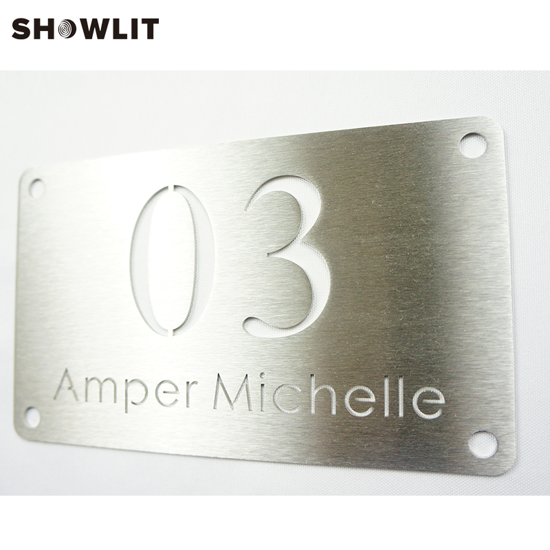 Outdoor Waterproof Brushed Stainless Steel House Plate Number Sign