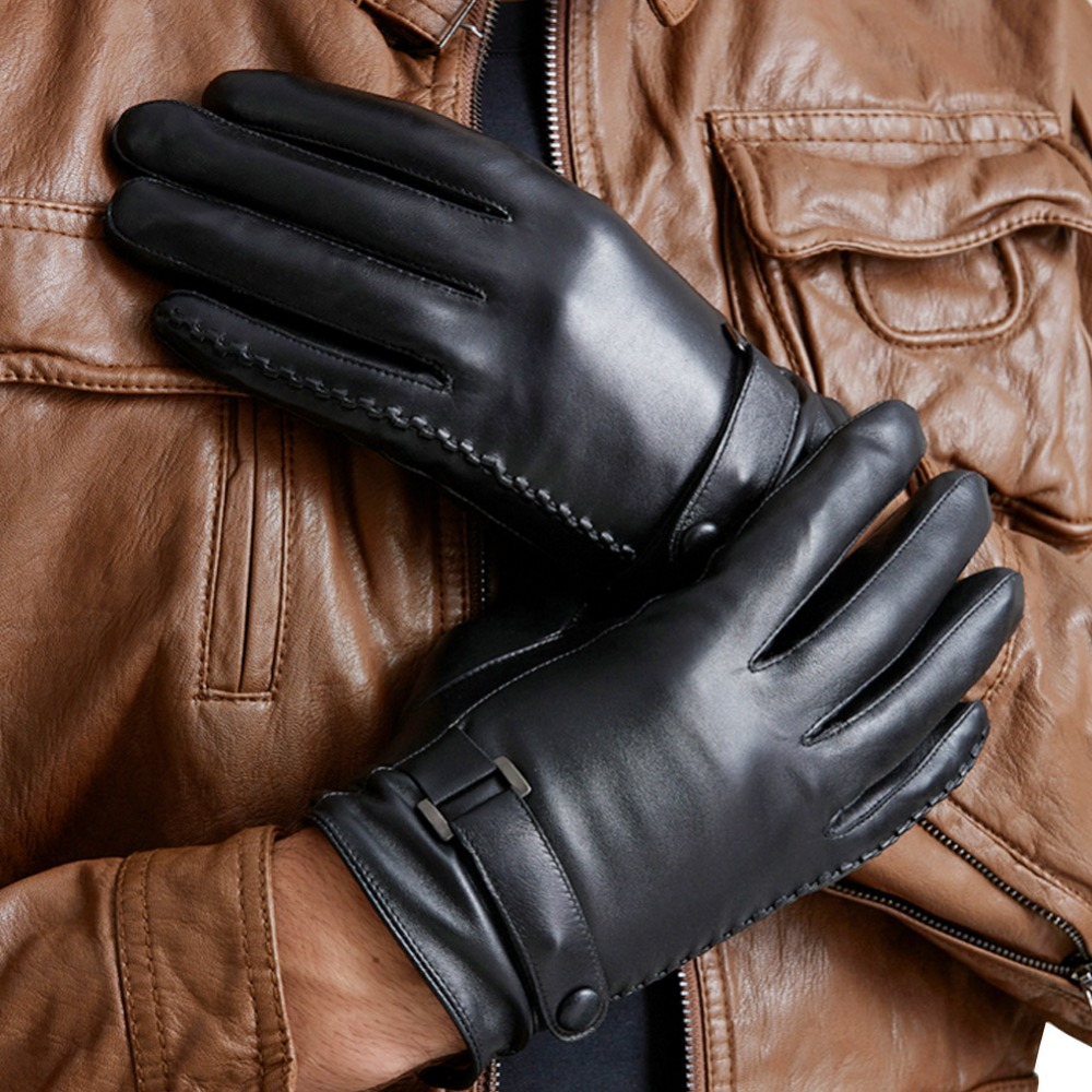 Mens leather touchscreen gloves uk - 16 Men Boy One Of Fur Leather Soft Touch Screen Smart Fashion Show Dress Warm Winter New Year Gift Girlfriend Gloves Mittens