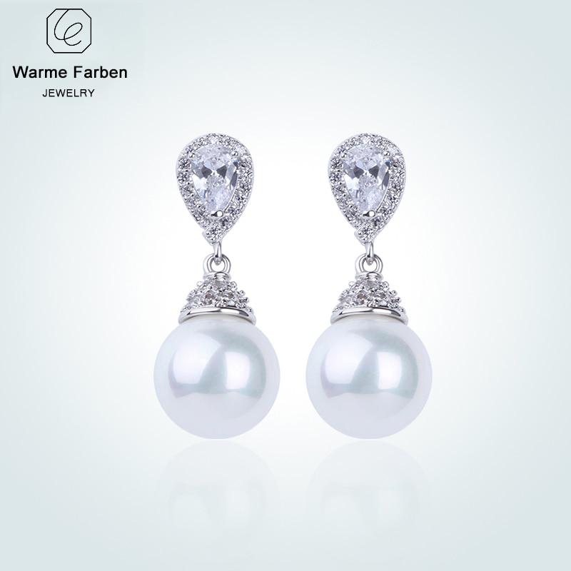 WARME FARBEN 925 Sliver Women Earrings Made With Swarovski Crystal Elegant Pearl Drop Earrings Fashion Jewelry Wedding Earrings sliver faux pearl drop earrings