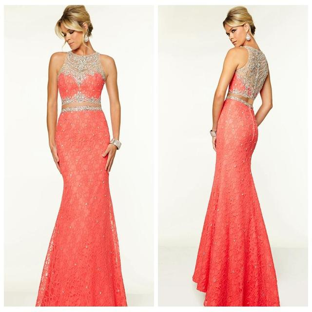 Coral Mermaid Lace Prom Dresses 2016 Two Piece Crystal Prom Dress ...
