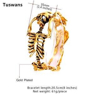 Image 2 - Skull Bracelet Big Skeleton Bones Statement Punk Jewelry Gold Color Stainless Steel Christmas Gift Gothic Bracelets Men