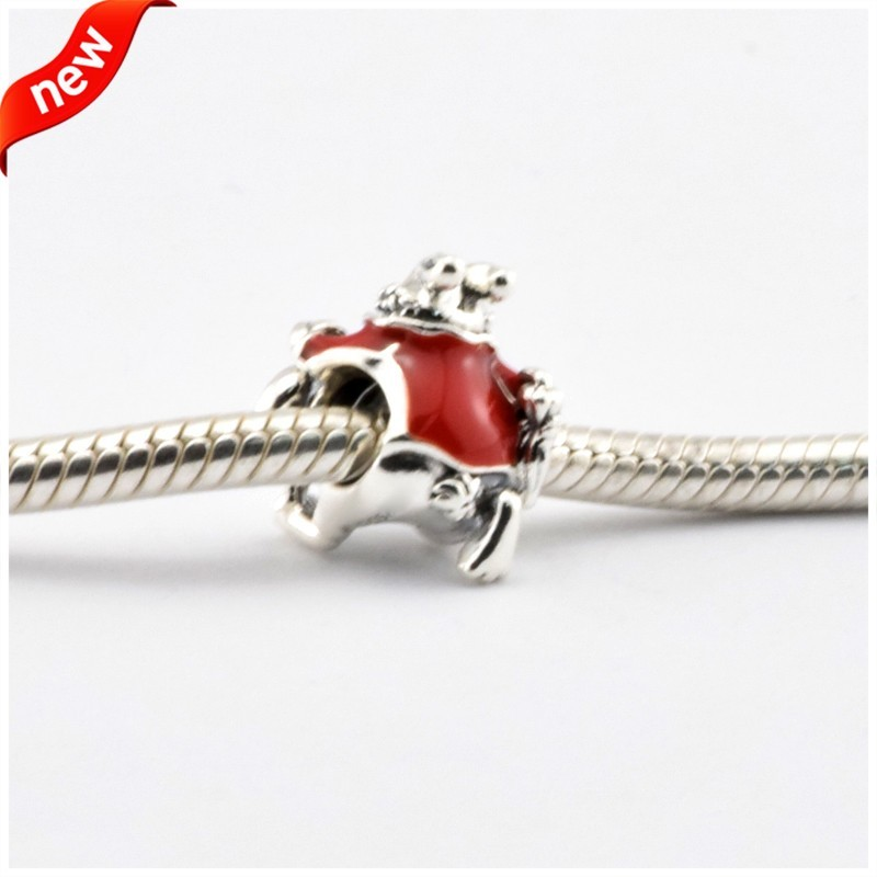 Disny White Rabbit Beads Fits Pandora Charms Bracelets Red&Yellow Enamel Disny Jewelry 925 Sterling Silver 2016 Spring Jewelry  (3)