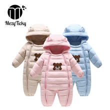 цена на Winter Baby Toddler Thick Cotton Bear Rompers Kids one-piece Hooded Jumpsuit Newborn Boy Girls Down Overalls infant Warm Clothes