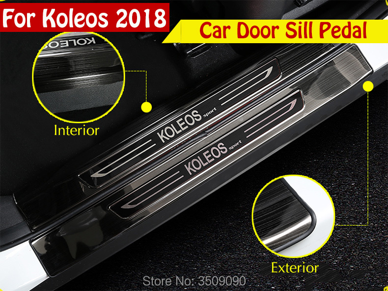 Car Scuff Plate Door Sill Trim Welcome Pedal Car Styling For Renault Koleos 2017 2018 for renault koleos 2008 2012 stainless steel complete window sill belt trim windows molding trims glass strips car styling