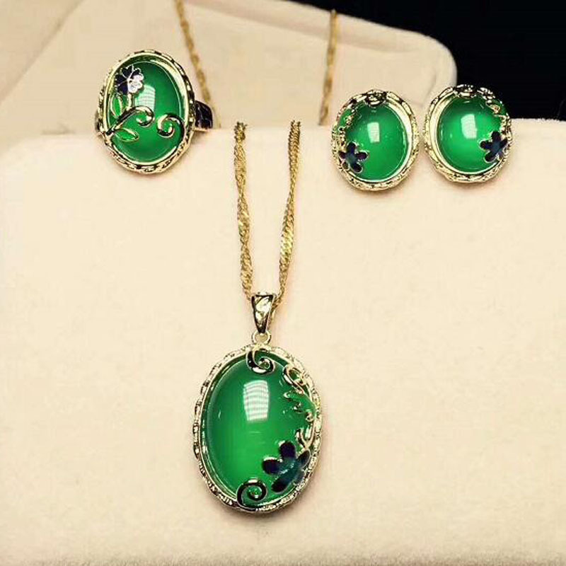 цена Yu Xin Yuan Fine jewelry cloisonne green jade jewelry ring of necklace earrings ring 925 three chalcedony suit cloisonne craft