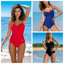 2019 New Sexy One Piece Woman Swimwear Closed Bikini Push Up Underwire High Waist Swimsuit Women Beachwear Pure Red blue Black
