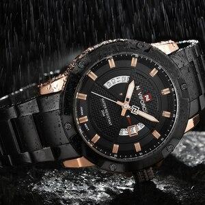 Image 4 - NAVIFORCE Mens 시계 탑 럭셔리 브랜드 남자 전체 스틸 시간 쿼츠 시계 아날로그 방수 스포츠 육군 군사 손목 시계 시계