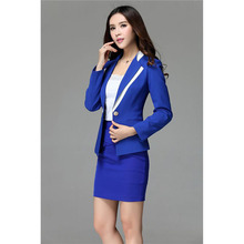 Royal Blue Women Skirt Suits Female Office Uniform Business Work Suits Ladies Winter Formal 2 Piece Suits